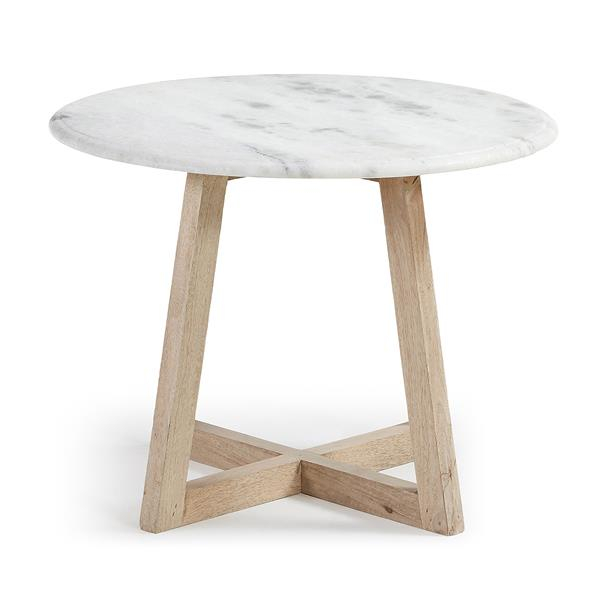 A Side Table Wooden Legs Top Marble White